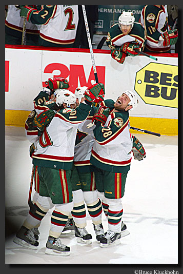 photo of the Wild celebrating a playoff goal.